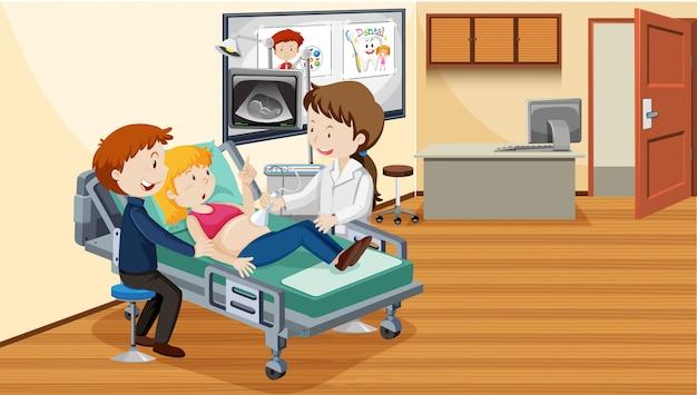 Persone in ospedale facendo ultrasuoni Vettore Premium