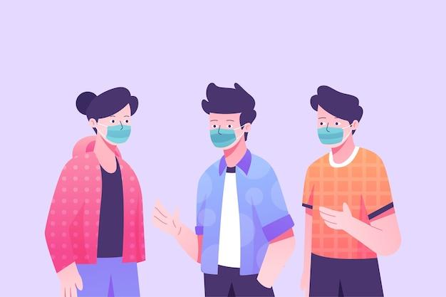 Persone in piedi e indossando maschere chirurgo Vettore gratuito