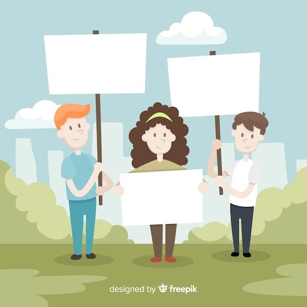 Persone in possesso di banner Vettore gratuito