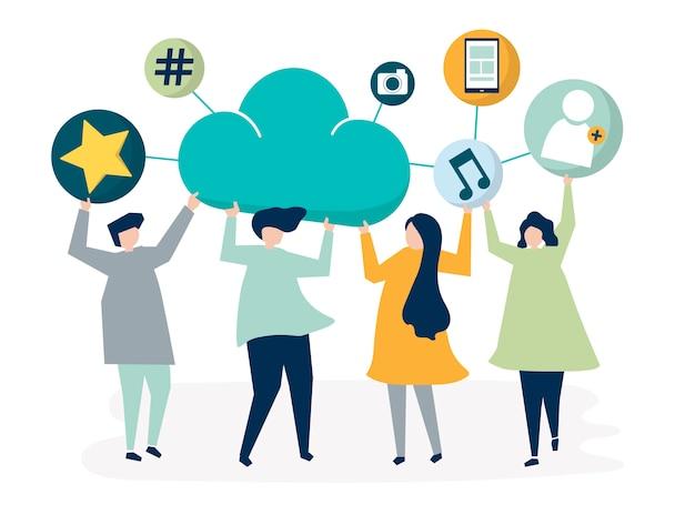 Persone in possesso di icone cloud e social network Vettore gratuito