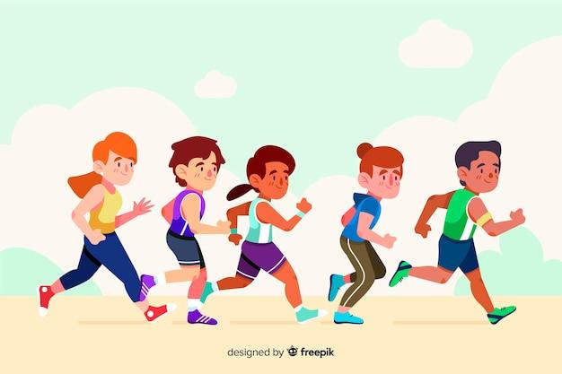Persone in una gara di maratona Vettore gratuito