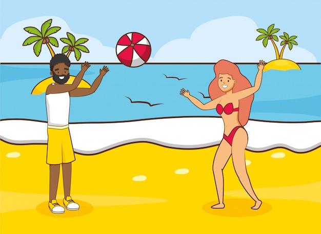 Persone in vacanza al mare Vettore gratuito