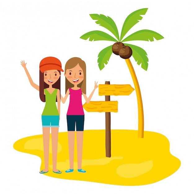 Persone in vacanza d'estate Vettore Premium
