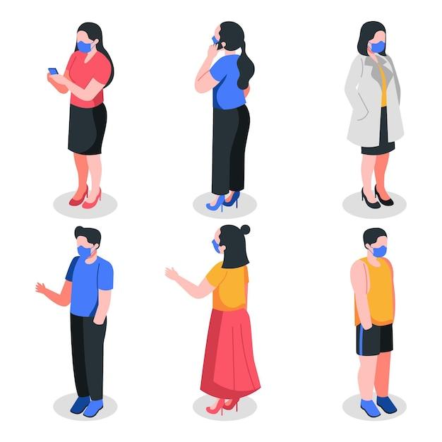 Persone isometriche che indossano maschere Vettore gratuito