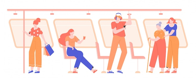 Persone nei trasporti pubblici. metro, bus, tram. Vettore Premium