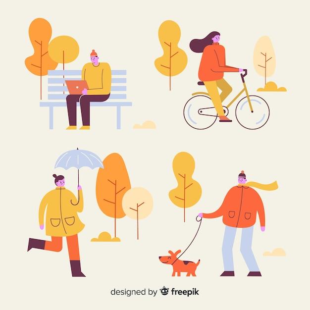 Persone nel parco d'autunno Vettore gratuito