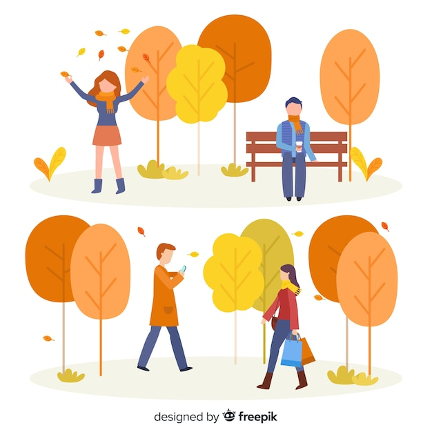 Persone nel parco in autunno collezione Vettore gratuito