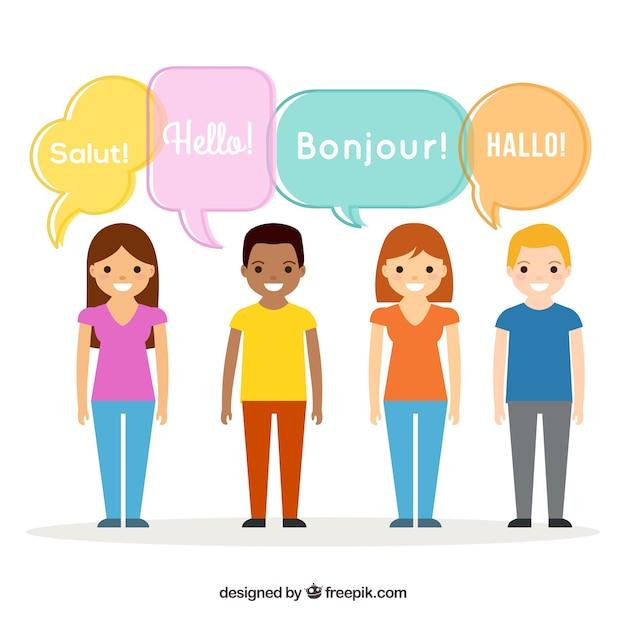 Persone piatte con parole in diverse lingue Vettore gratuito