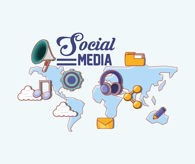 Persone social media Vettore Premium
