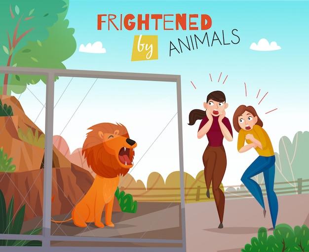 Persone spaventate da animali selvatici nello zoo pubblico Vettore gratuito