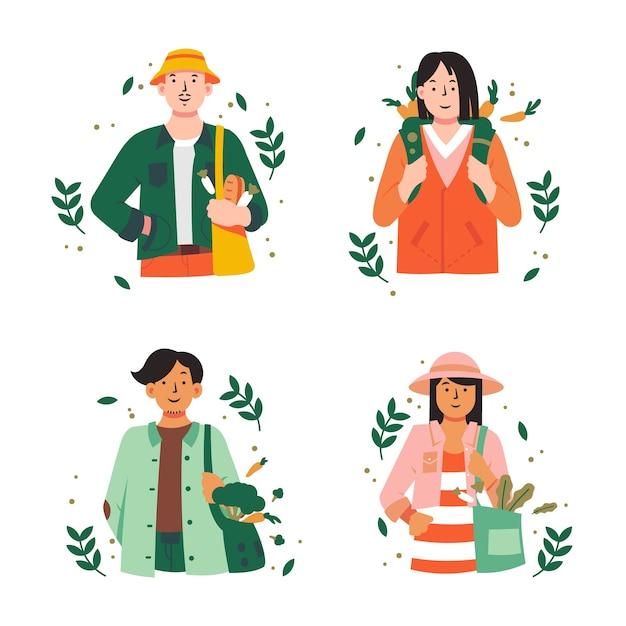 Persone stile di vita verde Vettore gratuito