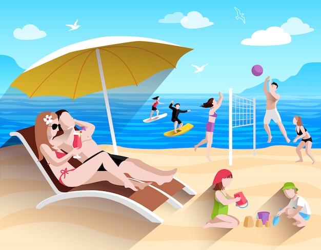 Persone sulla spiaggia Vettore gratuito