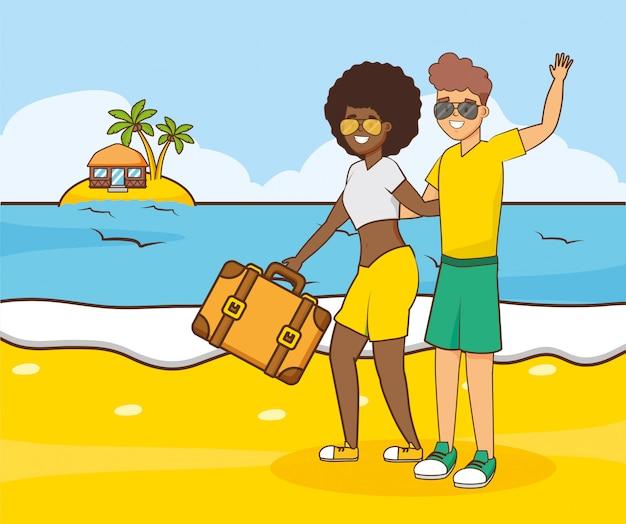 Persone vacanze al mare Vettore gratuito