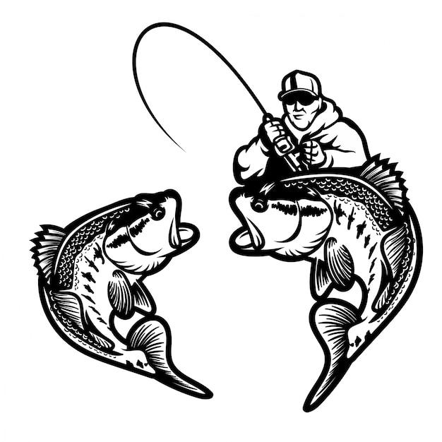 Pesca dell'illustrazione di vettore di tema di logo della spigola grande isolata Vettore Premium