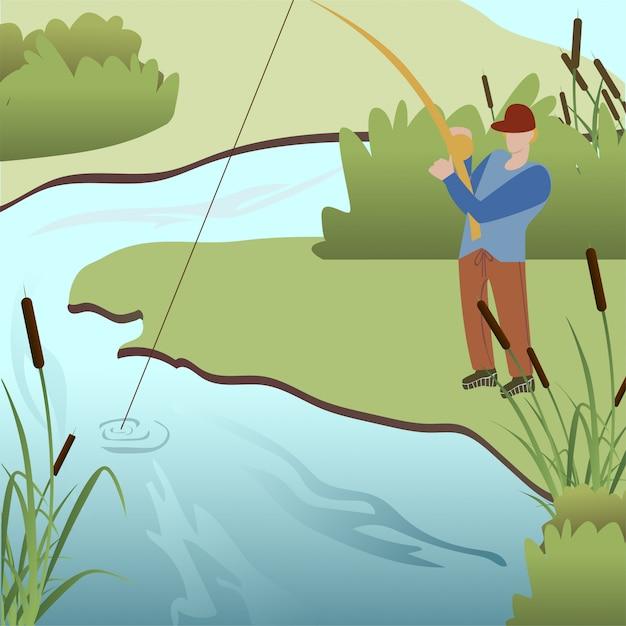 Pesca dell'uomo nell'illustrazione di vettore del fumetto del lago Vettore Premium