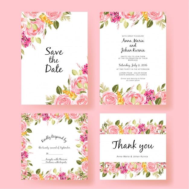 Pesca di fiori set di carte di invito matrimonio Vettore Premium