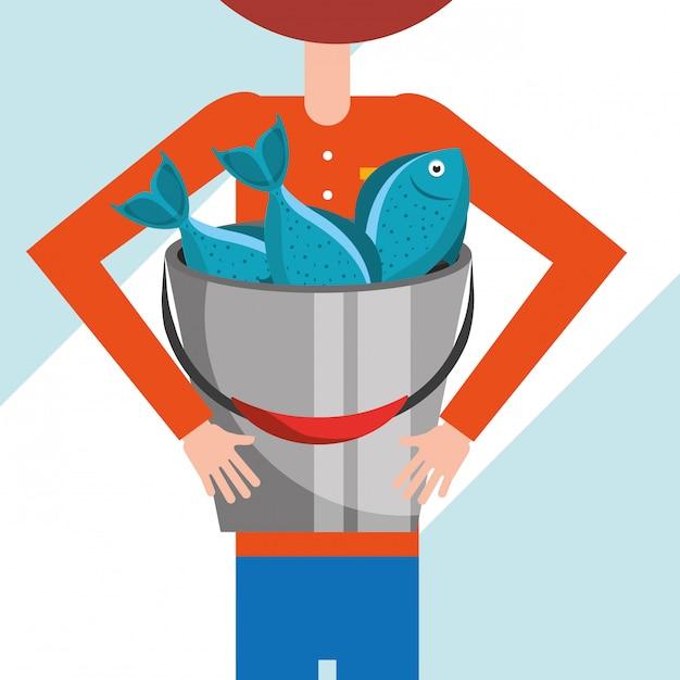 Pescando la gente del fumetto Vettore Premium
