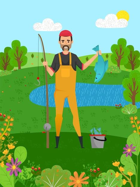 Pescatore che tiene luccio, pesce e canna, hobby Vettore Premium