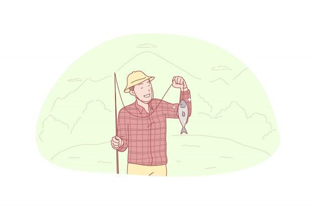 Pescatore, pesca, cattura, illustrazione hooby Vettore Premium