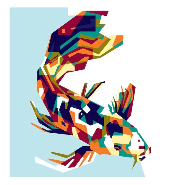 Pesce koi colorato Vettore Premium