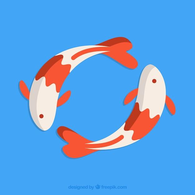 Pesce koi giapponese Vettore gratuito