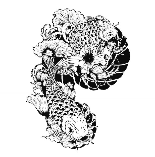 Pesci della carpa con il tatuaggio di vettore del loto a mano che disegna Vettore Premium
