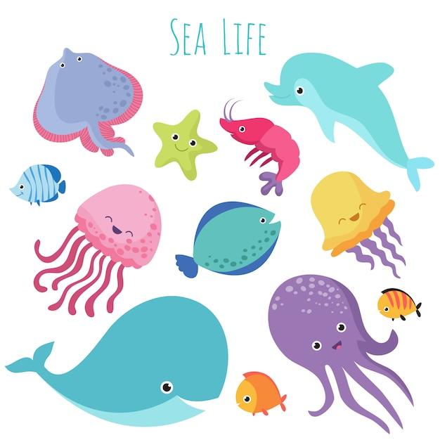 Pesci di mare carino bambino. raccolta di animali sott'acqua del fumetto Vettore Premium