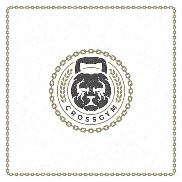 Peso logo testa di leone Vettore Premium