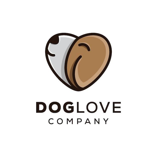 Pet love, logo love dog Vettore Premium