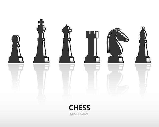 Pezzi degli scacchi Vettore Premium
