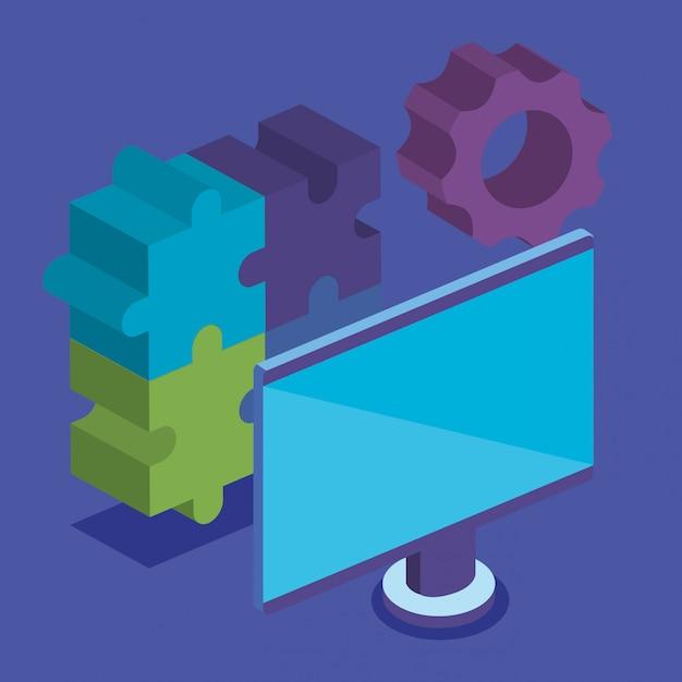 Pezzi del gioco puzzle con computer Vettore gratuito