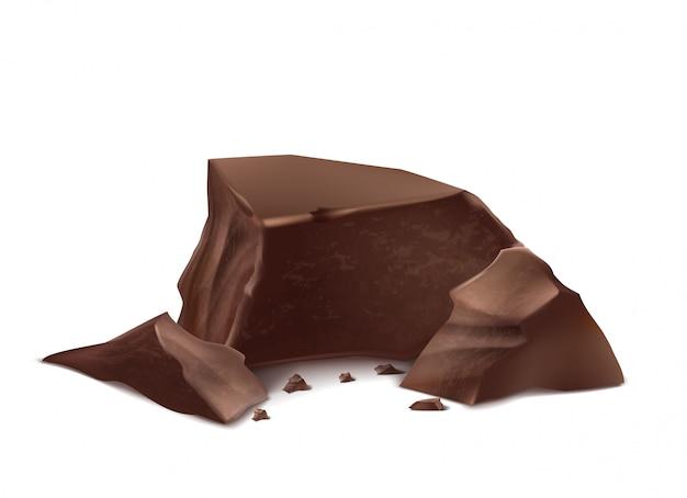 Pezzi di cioccolato realistico 3d. barrette deliziose marroni per il confezionamento di mock up, modello di pacchetto Vettore gratuito