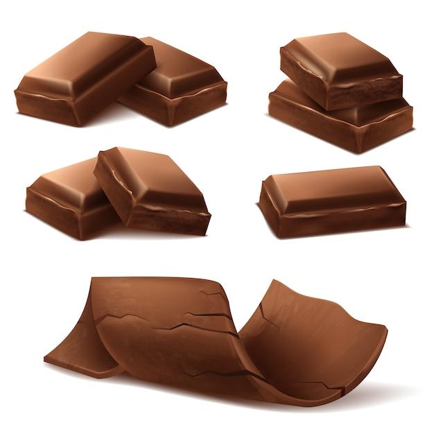 Pezzi di cioccolato realistico 3d. brown deliziose barrette e scaglie di cioccolato f Vettore gratuito