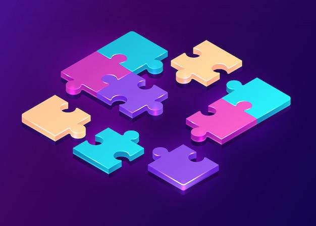 Pezzi di puzzle isometrici su sfondo viola Vettore gratuito