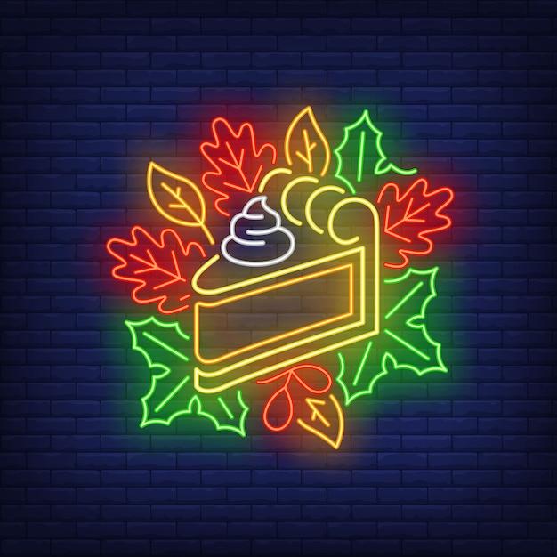 Pezzo di torta di zucca in stile neon Vettore gratuito