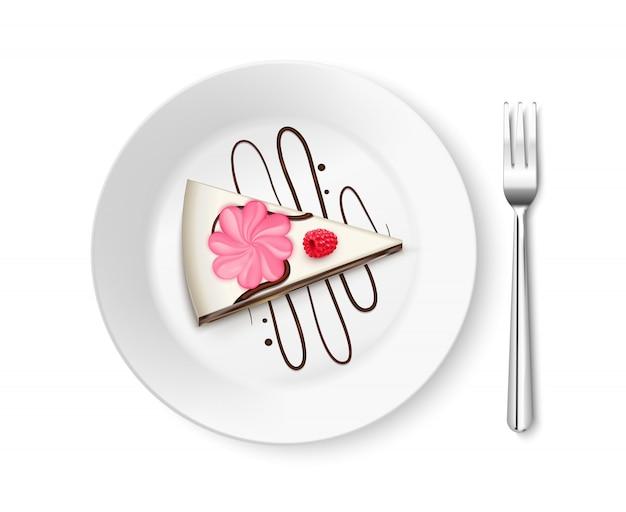 Pezzo di torta vista dall'alto realistico Vettore gratuito