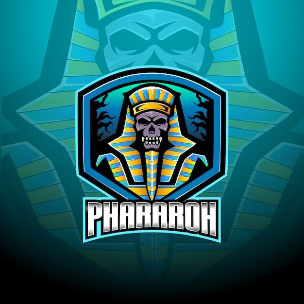Pharaoh esport mascot logo template Vettore Premium