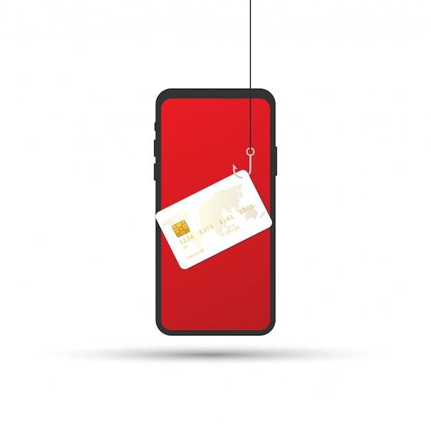Phishing di dati, carta di credito o debito su amo da pesca, sicurezza di internet. illustrazione vettoriale Vettore Premium