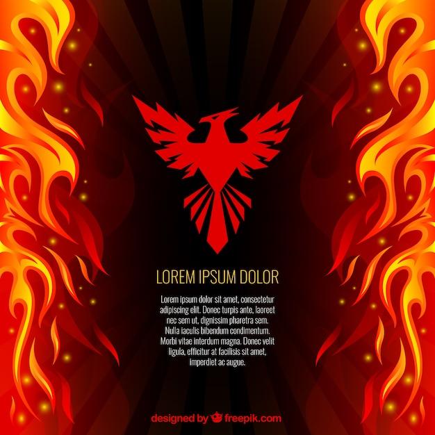 Phoenix e lo sfondo di fuoco Vettore gratuito