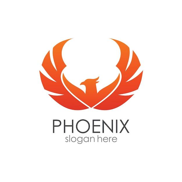 Phoenix logo template Vettore Premium