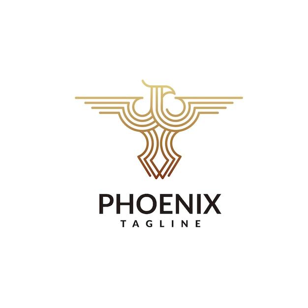 Phoenix logo Vettore Premium