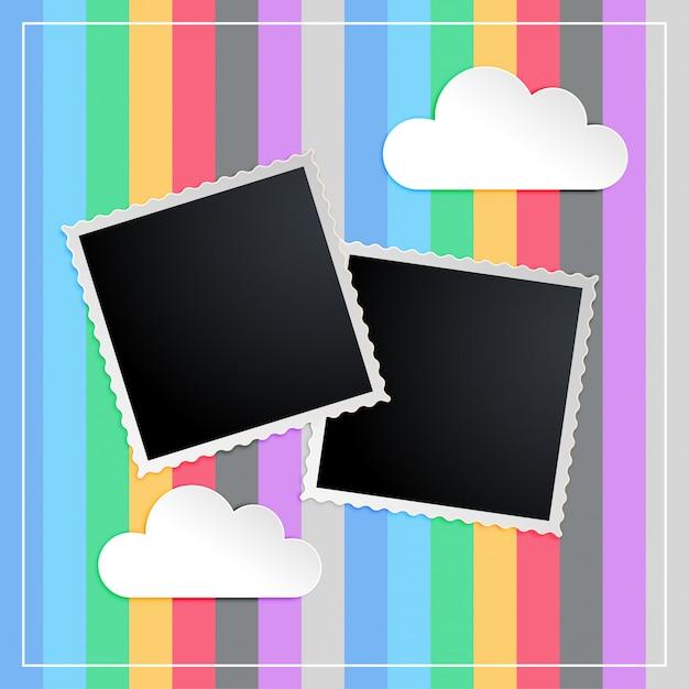 Photo frame in libro memorty di bambini scapbook Vettore gratuito