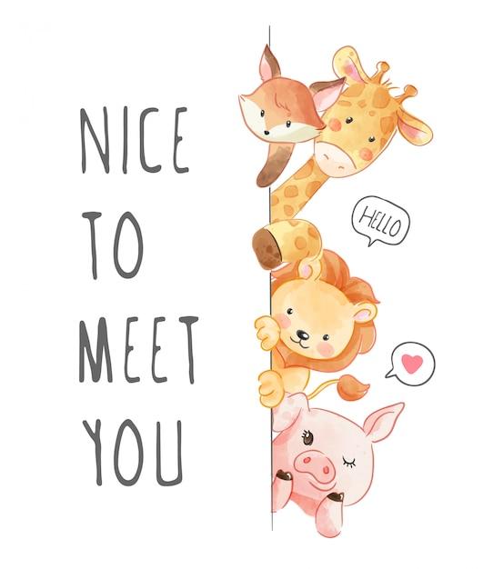 Piacere di conoscerti slogan with animals friend illustration Vettore Premium