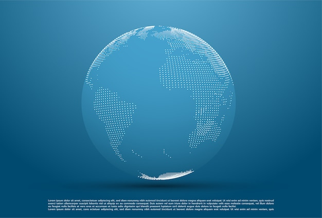 Pianeta astratto, punti, che rappresentano il significato globale e internazionale Vettore Premium