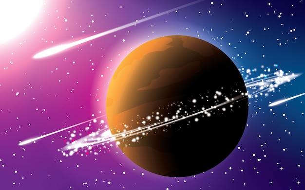 Pianeta saturnus con il vettore del fondo dello spazio di colore blu e rosso. meteore cadenti sotto il Vettore Premium