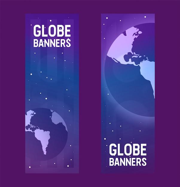 Pianeta terra vettore mondo globale universo giorno-terra e illustrazione globo universale mondiale mondana Vettore Premium