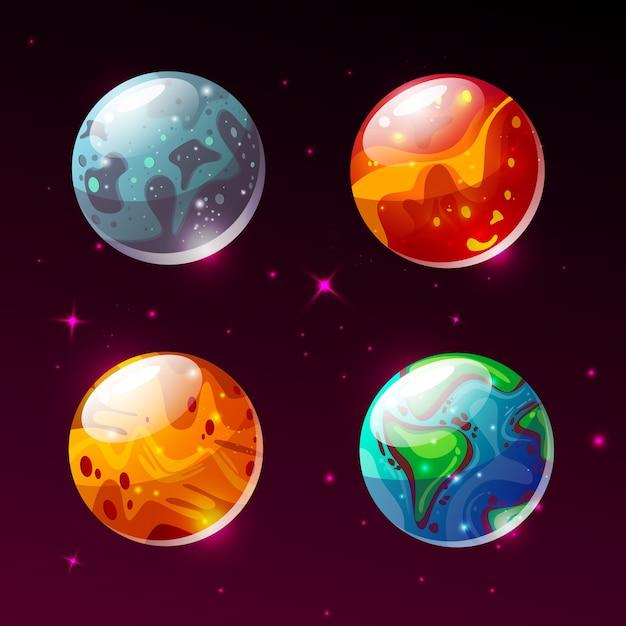 Pianeti nell'illustrazione dello spazio. cartoon terra, marte o luna e sole o plutone e giove Vettore gratuito