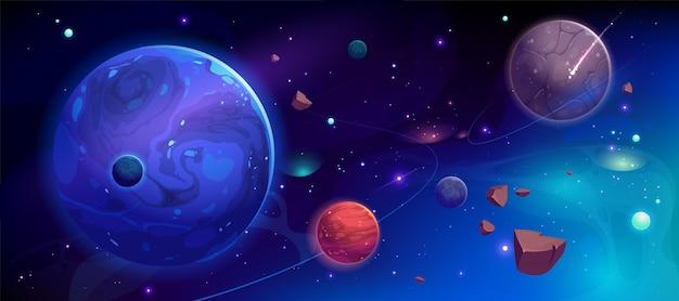 Pianeti nello spazio cosmico con illustrazione di satelliti e meteore Vettore gratuito