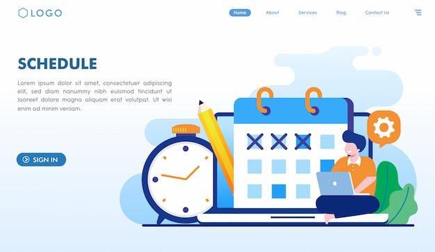 Pianifica il modello della pagina di destinazione Vettore Premium