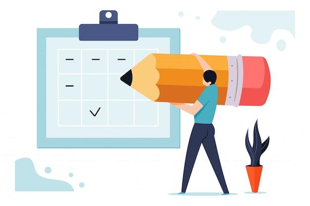 Pianifica l'illustrazione di affari del bordo con un uomo con una matita vicino al calendario di pianificazione. Vettore Premium